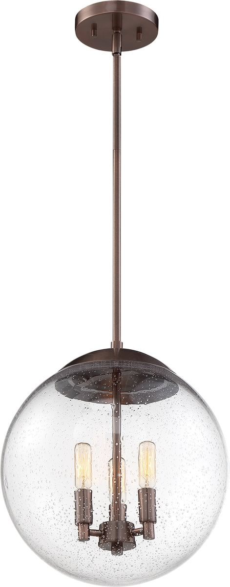 "13""W Ariel 3-Light Pendant Antique Copper / Clear Seeded"