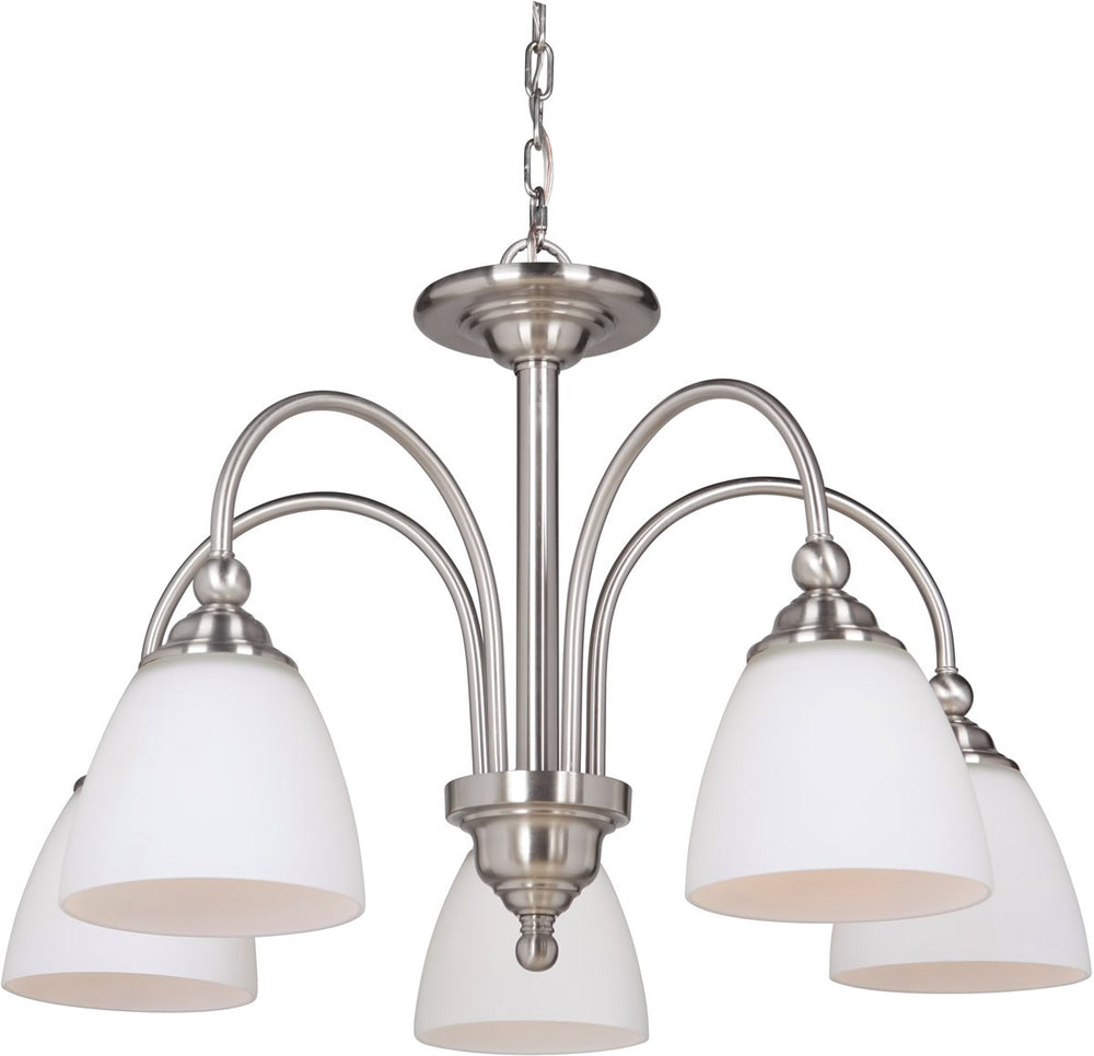 Brighton 5-Light Down Chandelier Brushed Polished Nickel