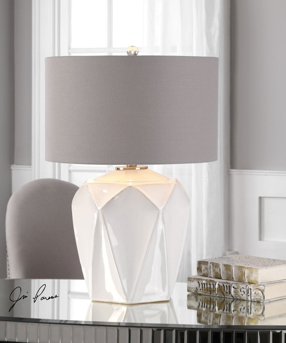 "25""H Elvilar Gloss White Table Lamp"