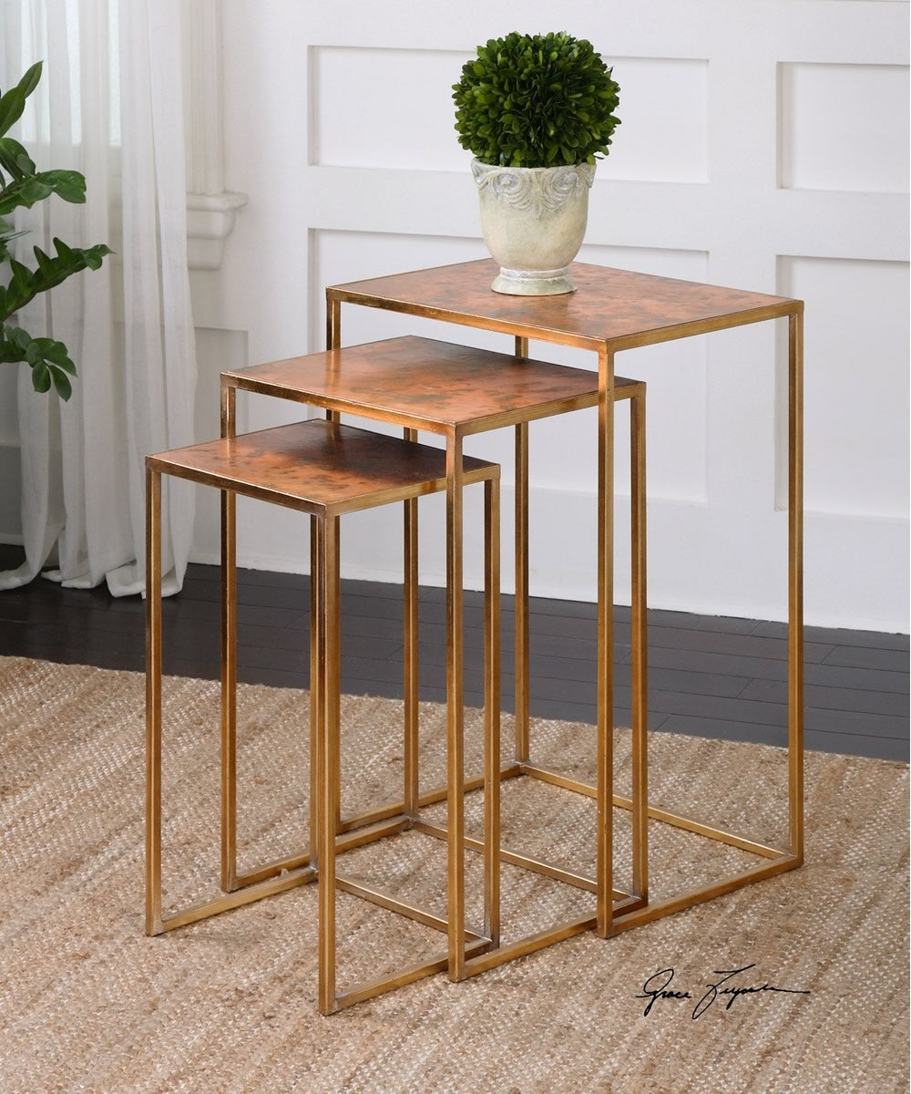 "27""H Copres Oxidized Nesting Tables Set of 3"