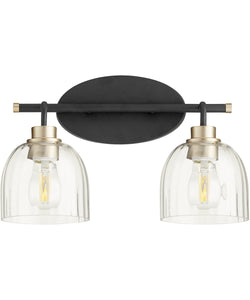Espy 2-light Bath Vanity Light Noir w/ Aged Brass