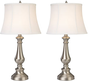 "25""H Fairlawn 2-Light LED Table Lamp Nickel"