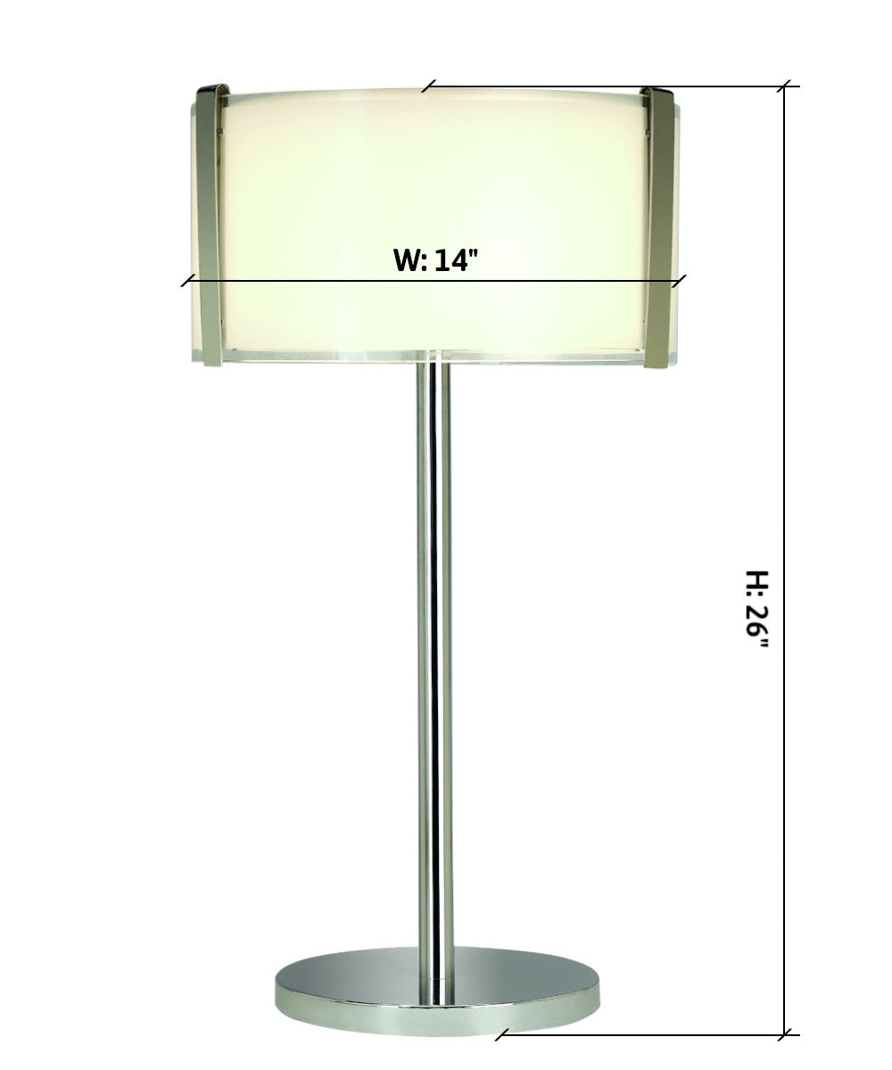 "26""H Apollo 1-Light Table Lamp with Rectangle Shade in Polished Chrome Finish TT7980 by Trend Lighting"