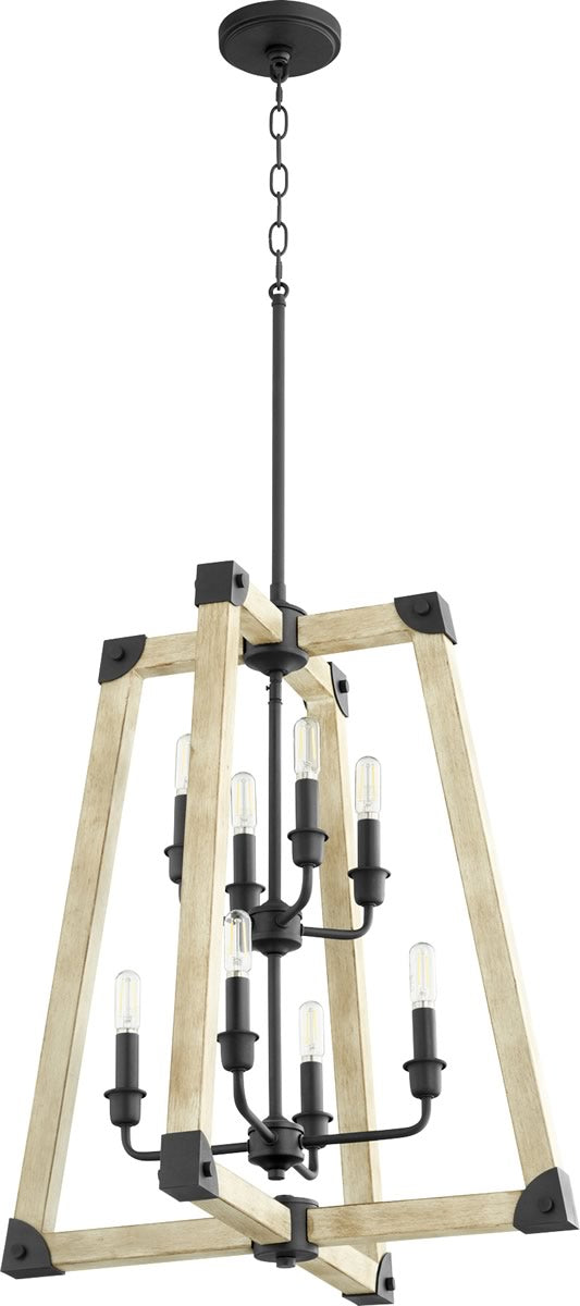 "22""W Alpine 8-light Entry Foyer Hall Chandelier Noir w/ Driftwood finish"
