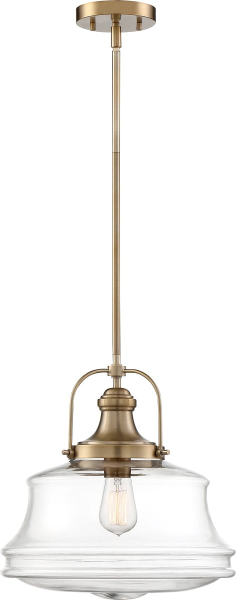 "14""W Basel 1-Light Pendant Burnished Brass / Clear"