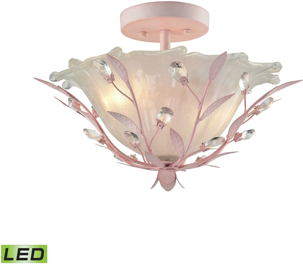 "17""W Circeo 2-Light LED Semi Flush-Light Pink"