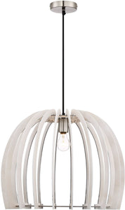 0-002970>Wood 1-Light  Pendant  White