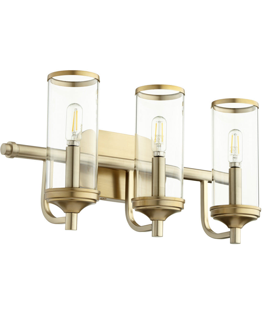 "19""W Collins 3-light Bath Vanity Light Aged Brass"
