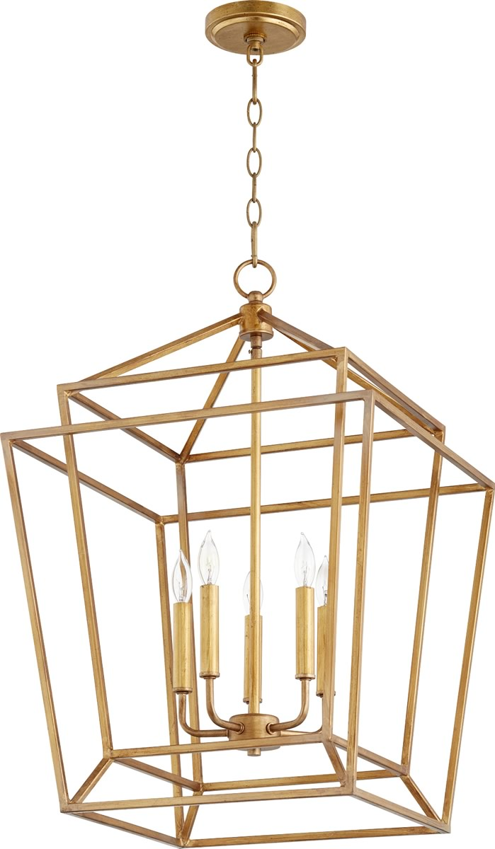 "18""W Monument 5-light Entry Foyer Hall Chandelier Gold Leaf"