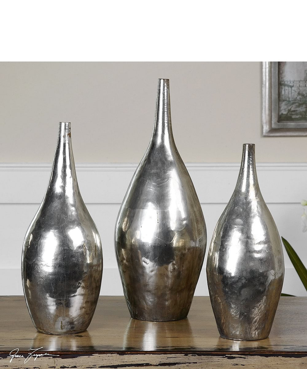 "16""H Rajata Silver Vases Set of 3"