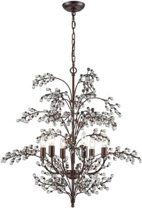 Winterberry 6-Light Chandelier Antique Darkwood/Clear Glass Balls