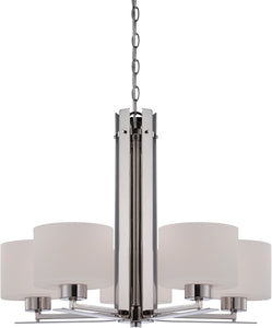"26""W Parallel 5-Light Chandelier Polished Nickel"