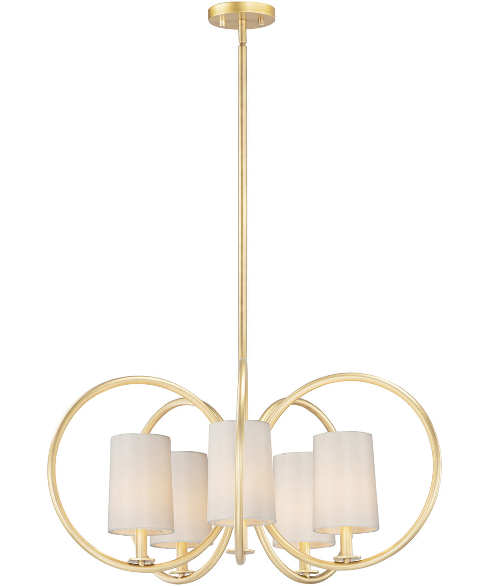 "31""W Meridian 5-Light Chandelier Natural Aged Brass"