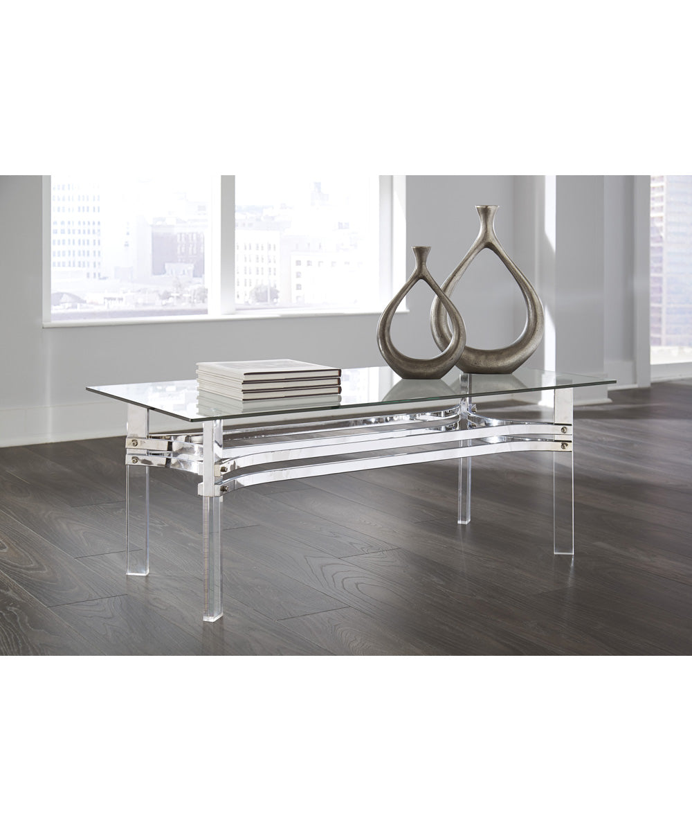 "18""H Braddoni Rectangular Cocktail Table Chrome"