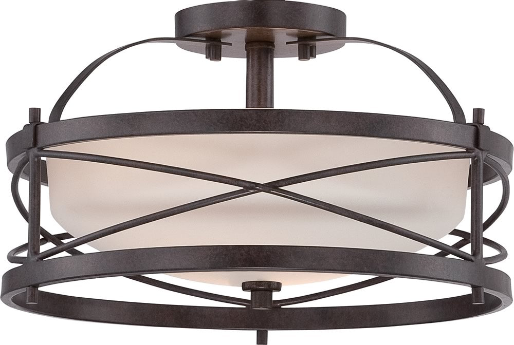"14""W Ginger 2-Light Close-to-Ceiling Old Bronze"
