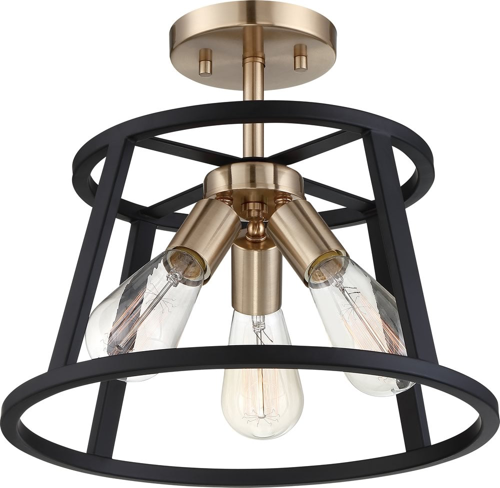 "14""W Chassis 3-Light Close-to-Ceiling Copper Brushed Brass / Matte Black"