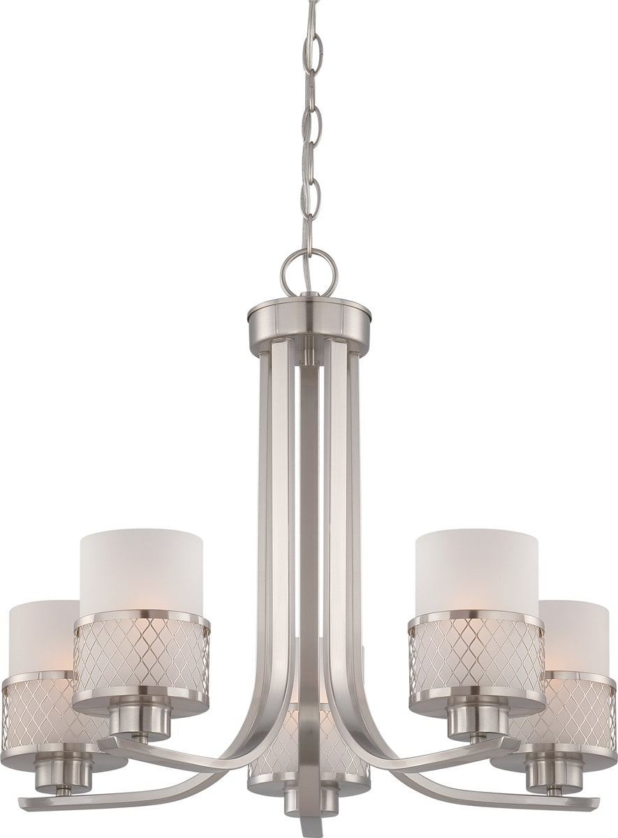 "22""W Fusion 5-Light Chandelier Brushed Nickel"