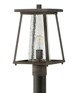 Burke 1-Light Outdoor Pier Post Light in Oil Rubbed Bronze with Clear
