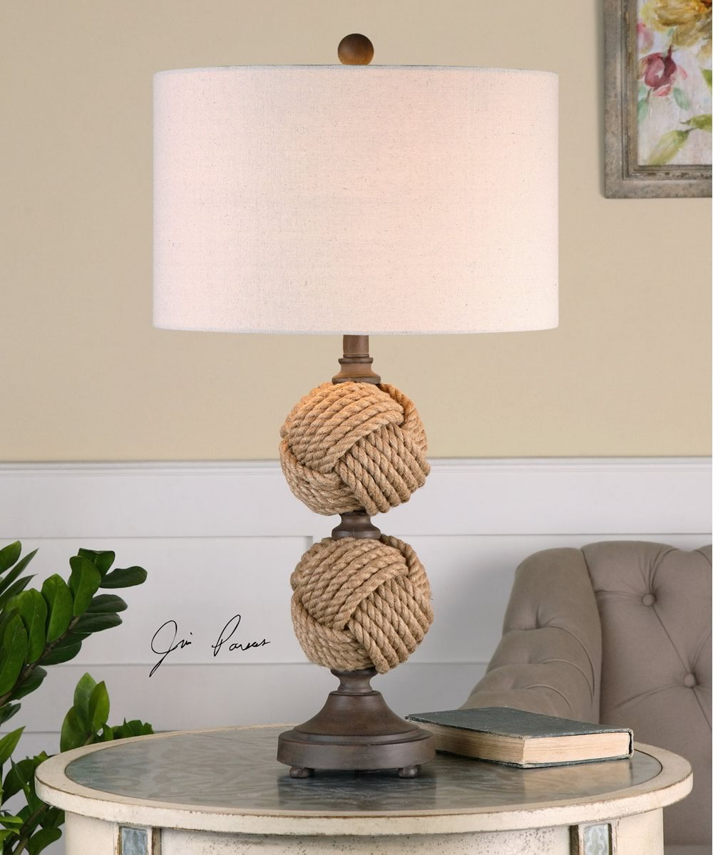 "30""H Higgins Rope Spheres Table Lamp"