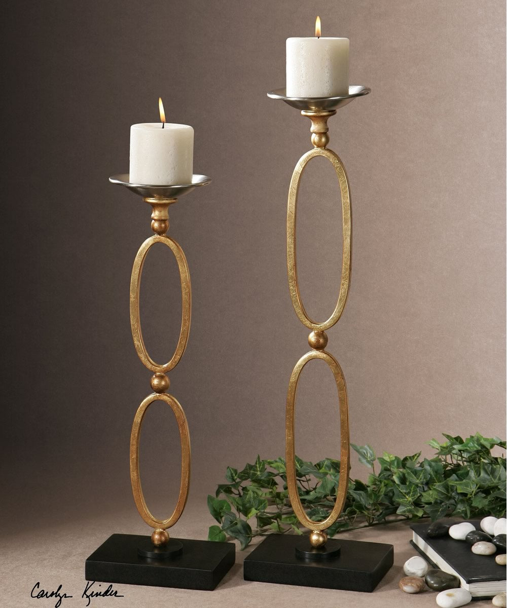 "24""H Lauria Chain Link Candleholders Set of 2"