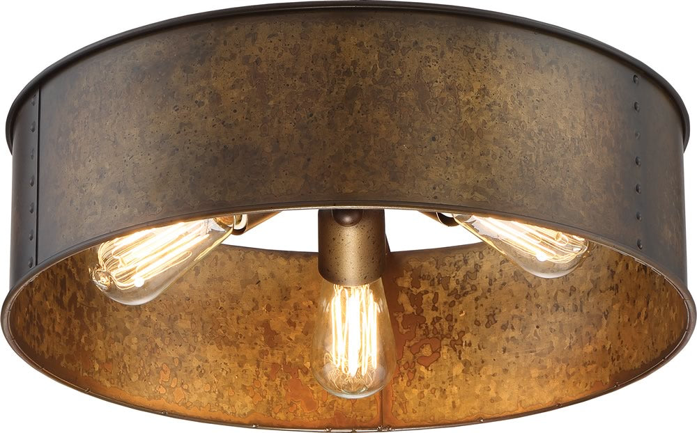 "17""W Kettle 3-Light Close-to-Ceiling Weathered Brass"