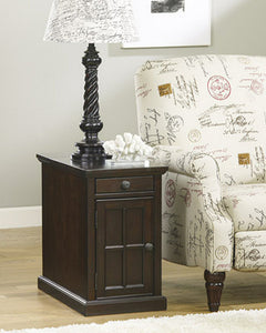 Laflorn Chair Side End Table Dark Brown