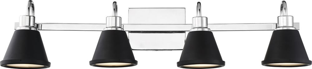 "32""W Bette 4-Light Vanity & Wall Polished Nickel / Matte Black"