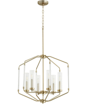 "24""W Citadel 6-light Pendant Aged Brass"