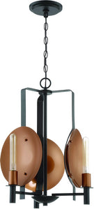 Candela 3-Light Chandelier Matte Black/Satin Copper