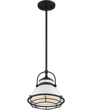"10""W Upton 1-Light Pendant Gloss White / Black Accents"