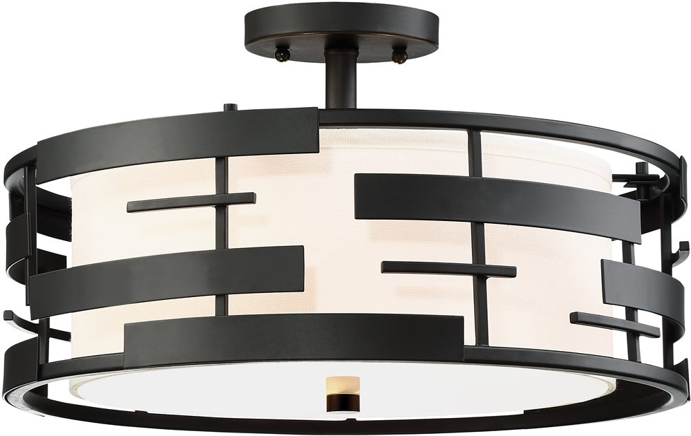 "16""W Lansing 3-Light Close-to-Ceiling Textured Black"