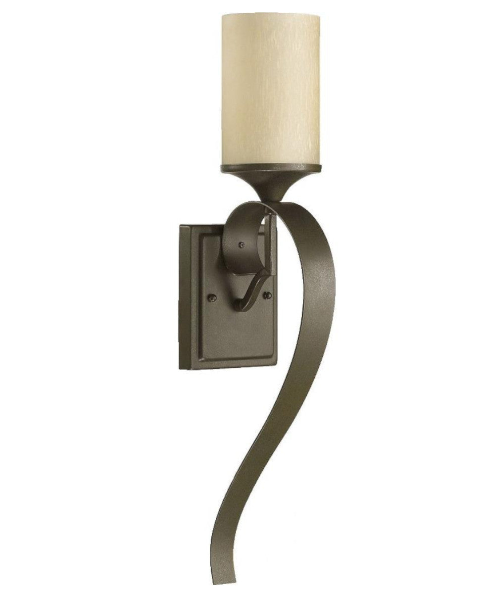 "5""W Atwood 1-Light Wall Sconce  Oiled Bronze Amber Scavo Glass Shade"