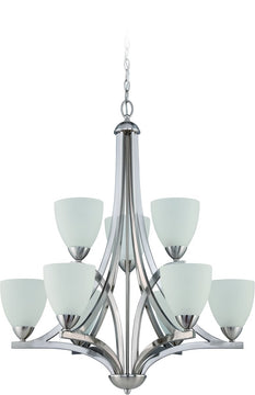 "30""W Almeda 9-Light Chandelier Satin Nickel"