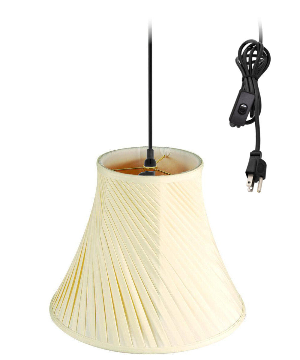 "16""W 1-Light Plug In Swag Pendant Ceiling Light Eggshell Shade"