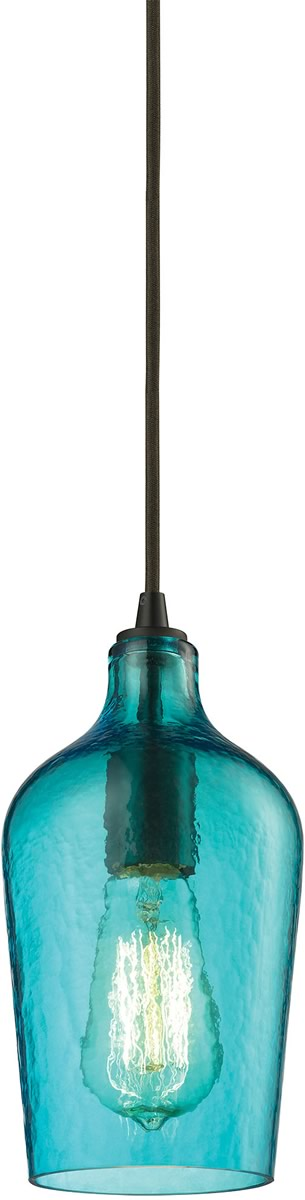 "5""W Hammered Glass 1-Light Pendant Oil Rubbed Bronze/Aqua Glass"