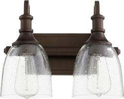 Richmond 2-light Bath Vanity Light Oiled Bronze w/ Clear/Seeded