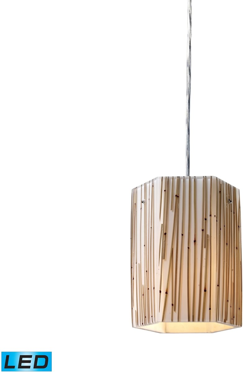 "6""W Modern Organics 1-Light LED Pendant Polished Chrome/Bamboo Stem"