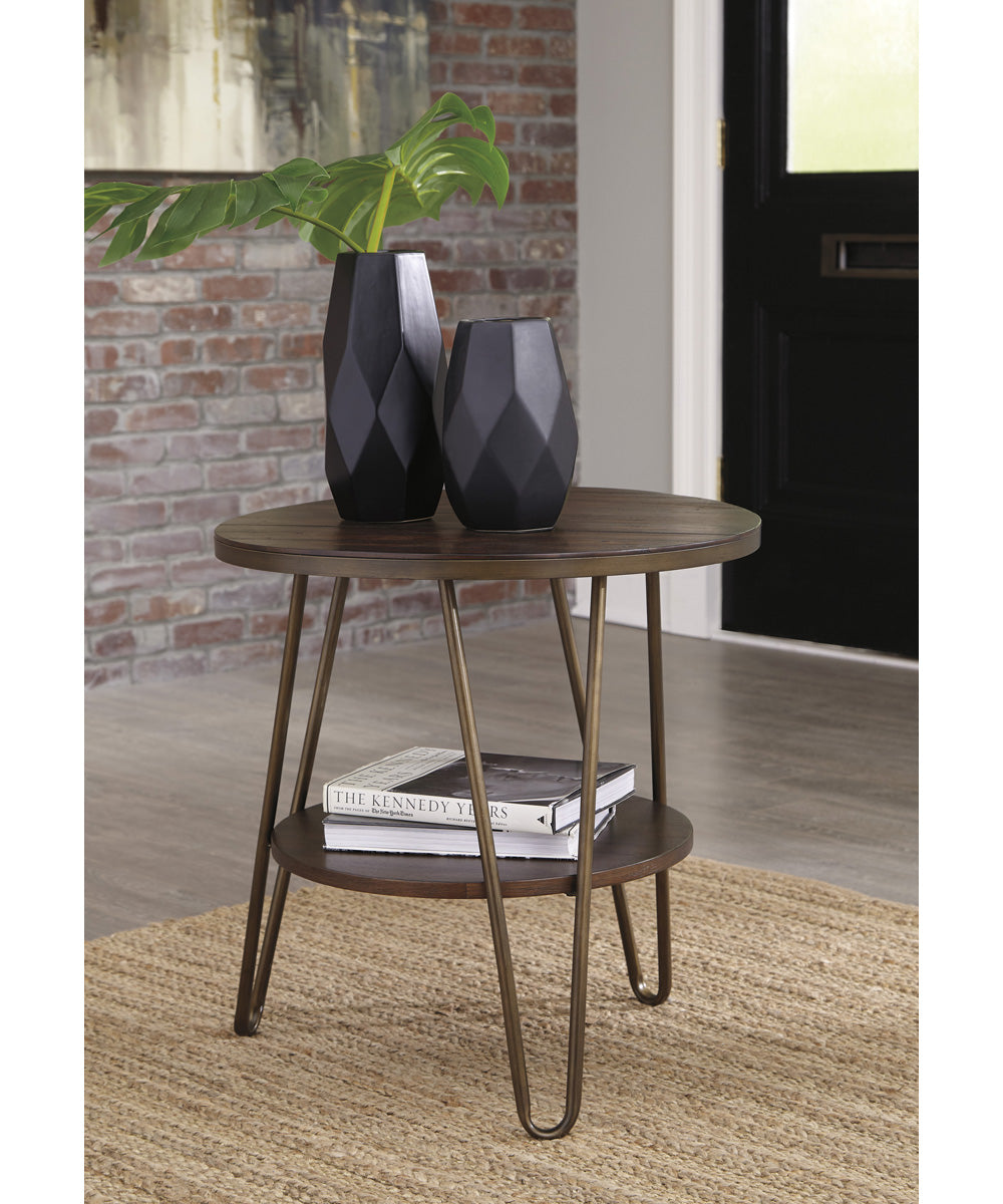 "24""H Lettori Round End Table Brown"