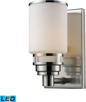 "5""W Bryant 1-Light LED Vanity Satin Nickel/Opal White Glass"