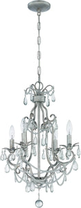 0-003620>4-Light Mini Chandelier Antique Silver
