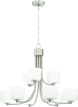 "32""W Clarendon 9-Light Chandelier Brushed Polished Nickel"