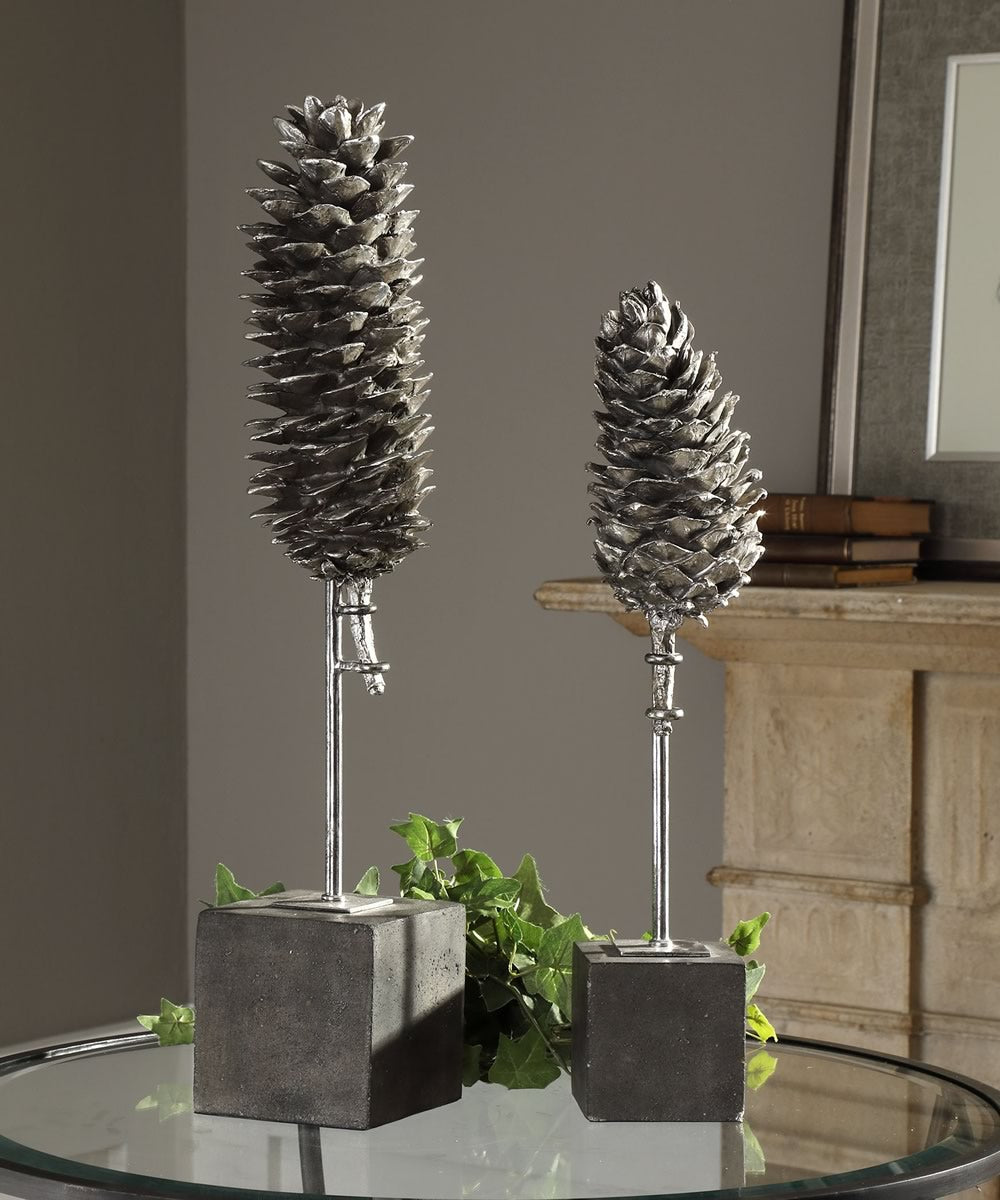 "23""H Longleaf Pine Cone Sculptures Set of 2"