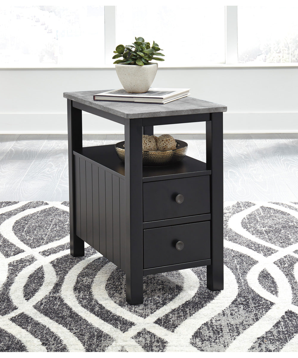 "24""H Ezmonei Chair Side End Table Black/Gray"