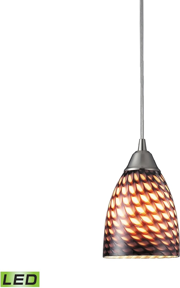 "5""W Arco Baleno 1-Light LED Pendant Satin Nickel/Coco Glass"