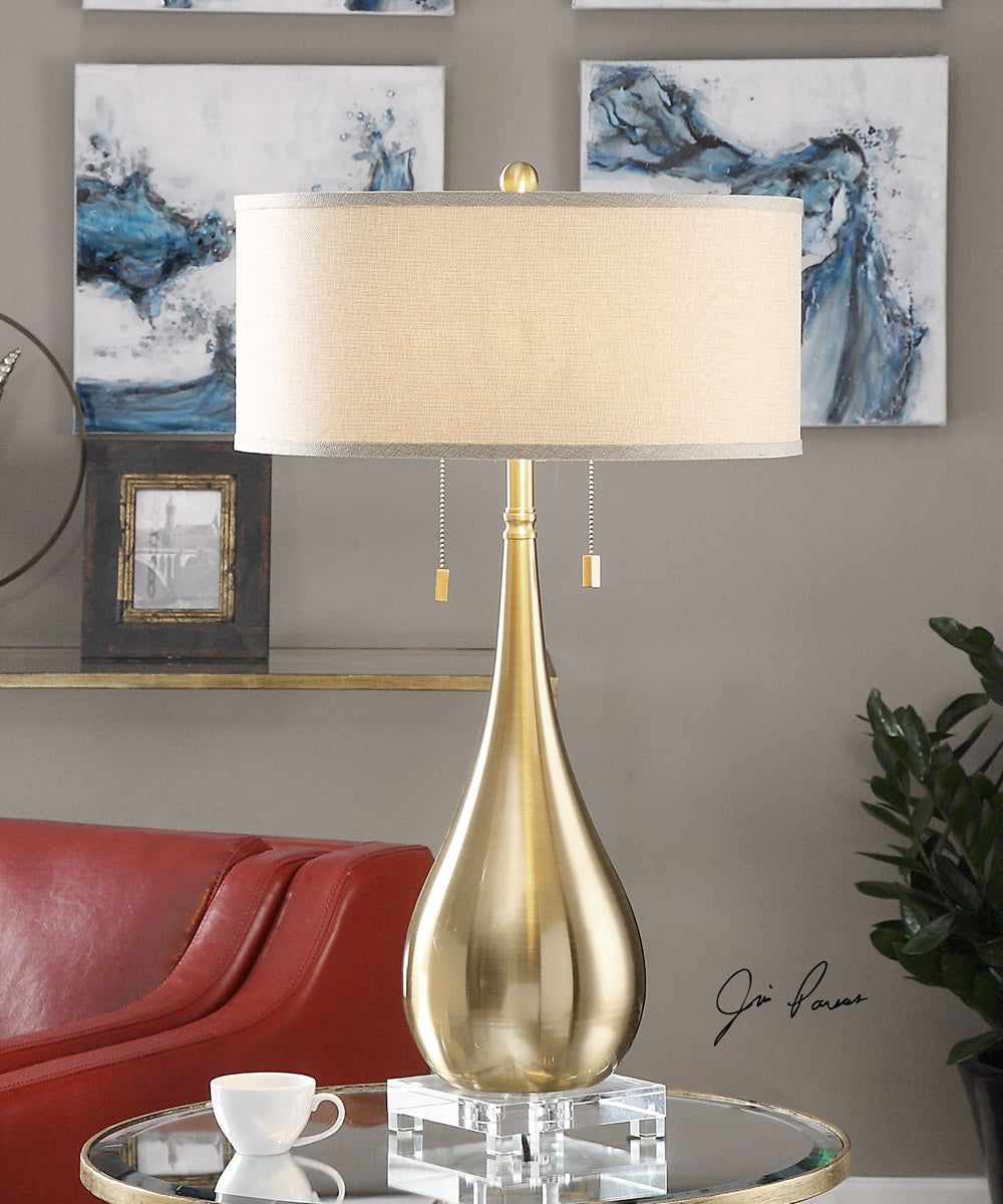 "31""H Lagrima Brushed Brass Lamp"