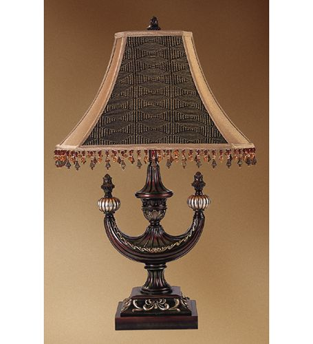 "30""H Alhambra  2-Arm Tiffany Table Lamp"