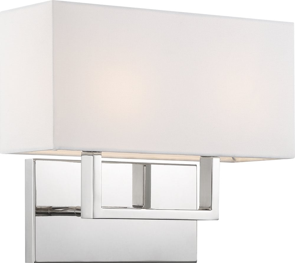 "14""W Tribeca 2-Light Vanity & Wall Polished Nickel / White Fabric"