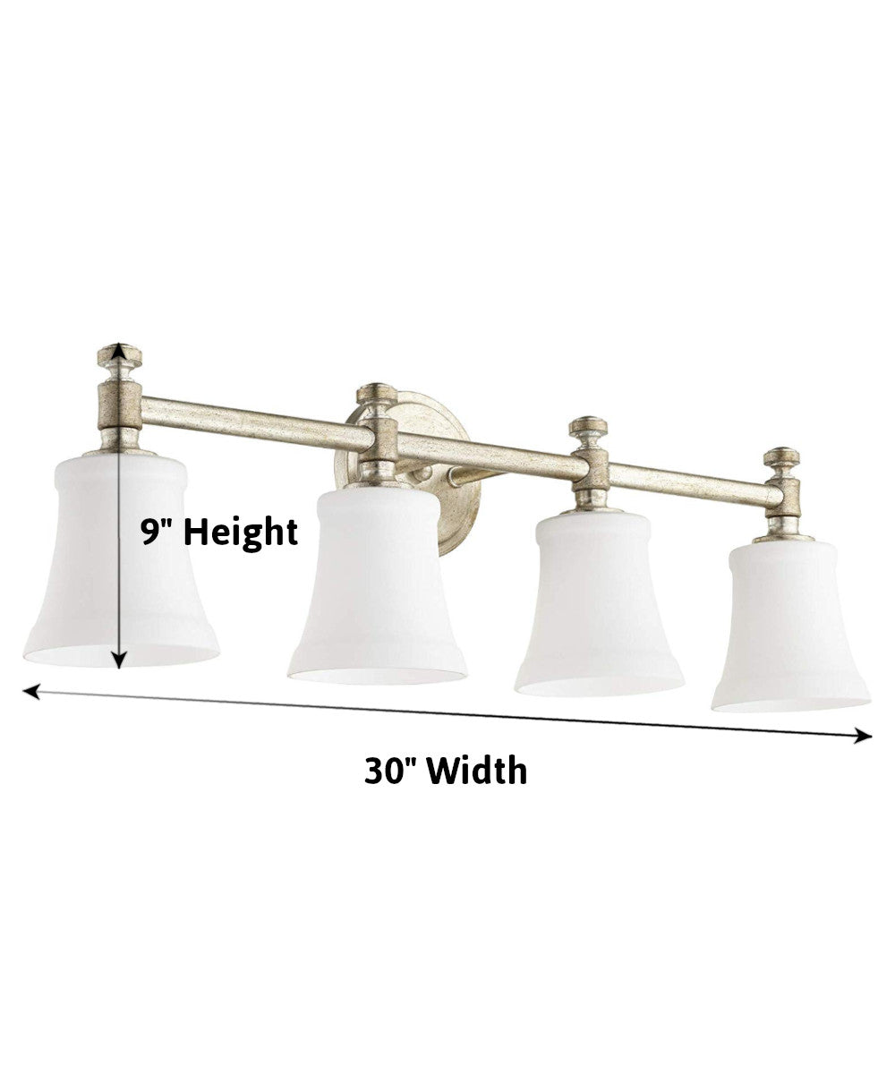 "30""W Rossington 4-light Bath Vanity Light Aged Silver Leaf w/ Satin Opal"