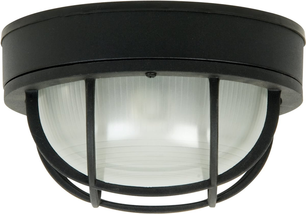 "10""W Bulkhead 1-Light Outdoor Flush Mount Matte Black"