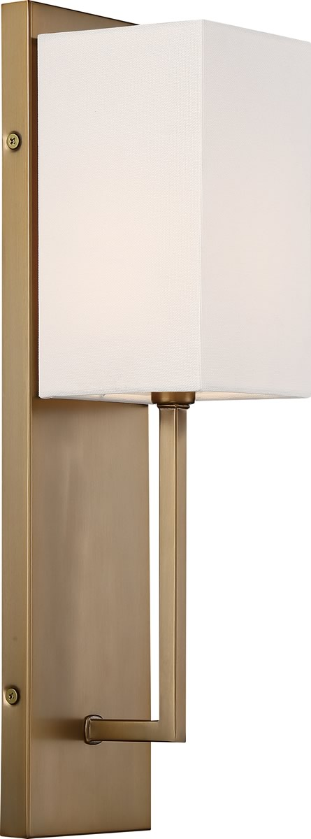 "5""W Vesey 1-Light Vanity & Wall Burnished Brass / White"